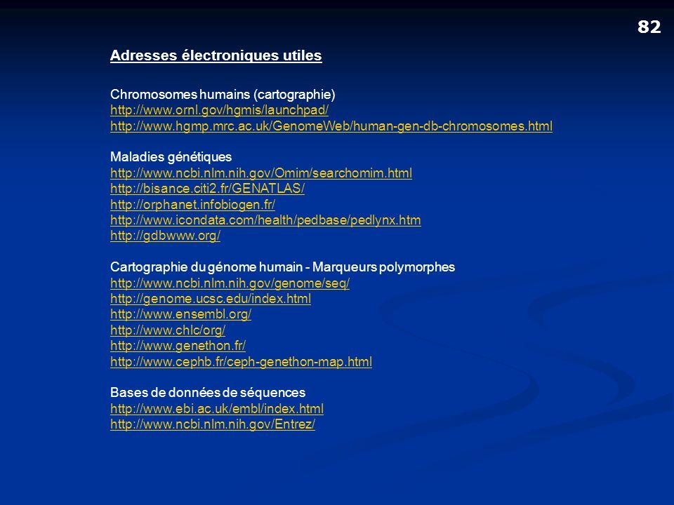 82 Adresses électroniques utiles Chromosomes humains (cartographie)