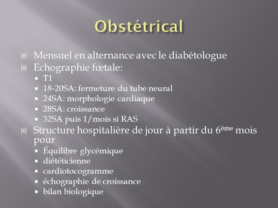 Obstétrical Mensuel en alternance avec le diabétologue