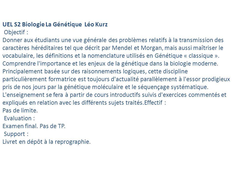 UEL S2 Biologie La Génétique Léo Kurz