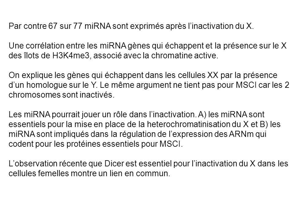 Par contre 67 sur 77 miRNA sont exprimés après l'inactivation du X.