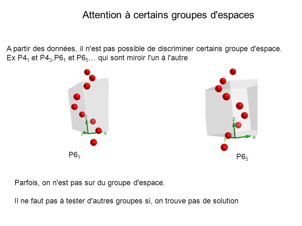 Attention à certains groupes d espaces