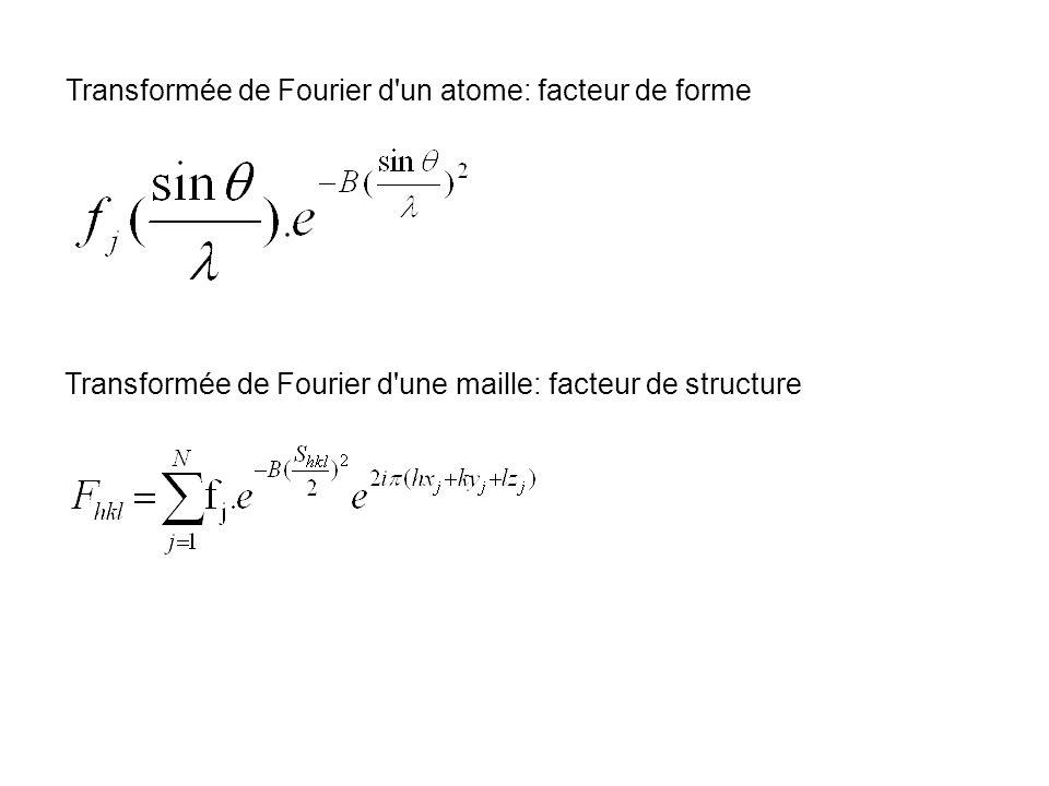 Transformée de Fourier d un atome: facteur de forme