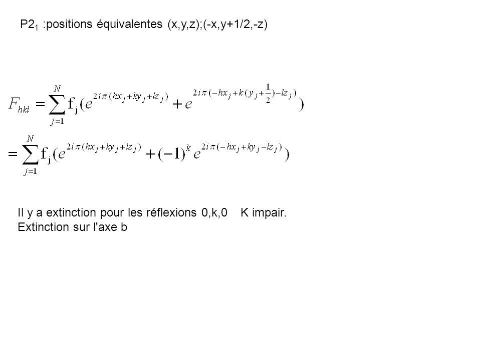 P21 :positions équivalentes (x,y,z);(-x,y+1/2,-z)