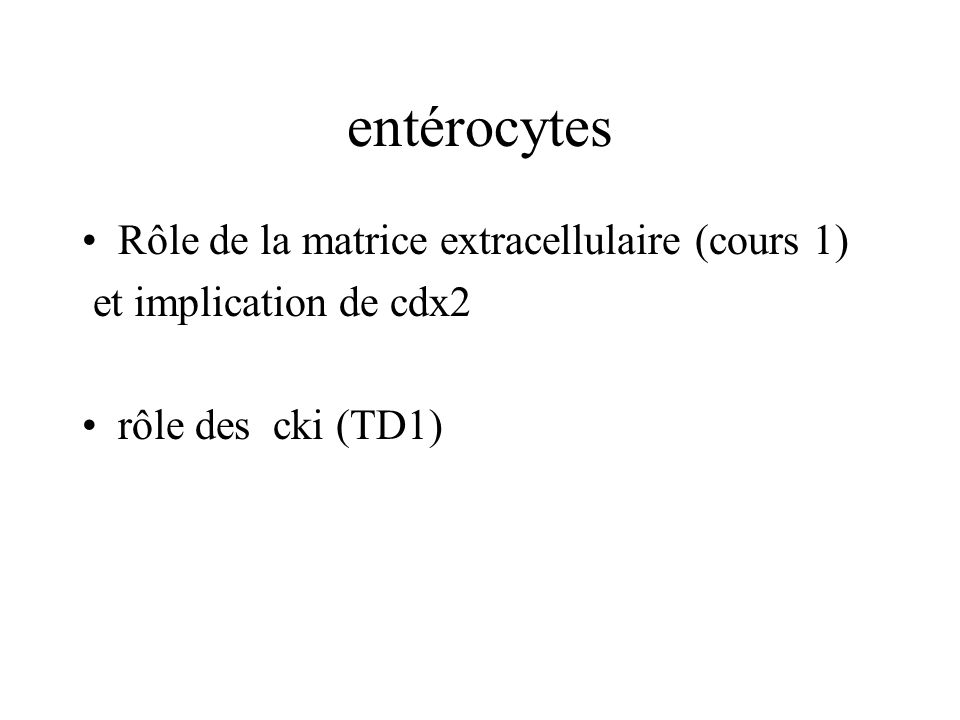 entérocytes Rôle de la matrice extracellulaire (cours 1)