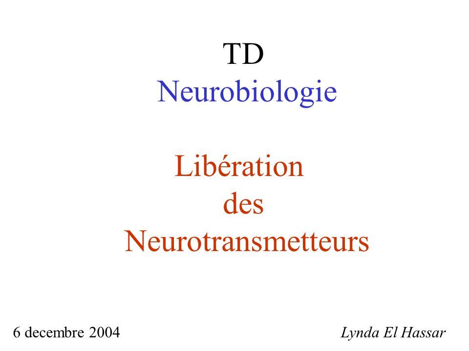 TD Neurobiologie Libération des Neurotransmetteurs 6 decembre 2004