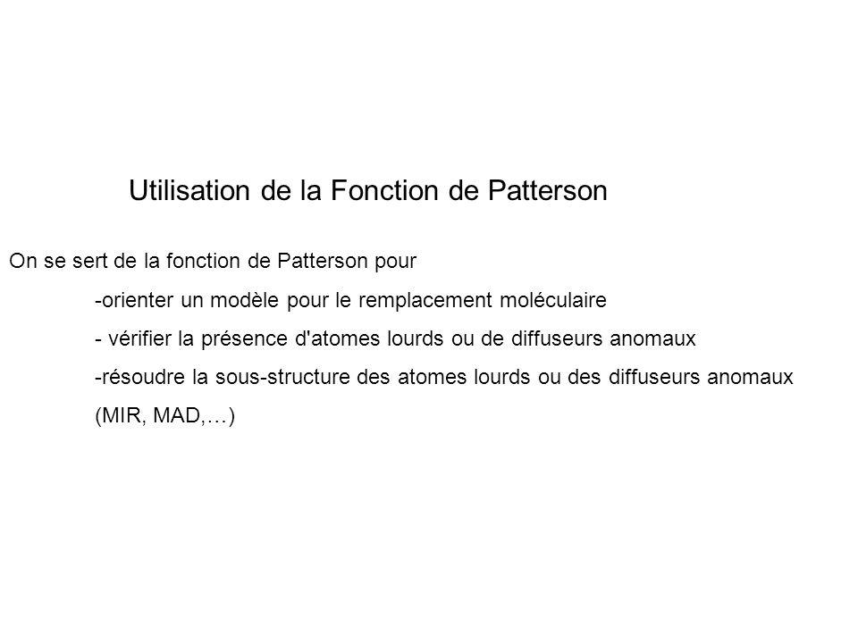 Utilisation de la Fonction de Patterson