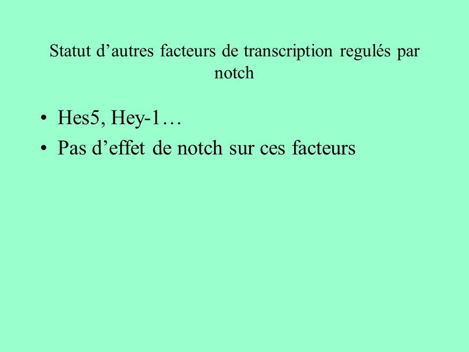 Statut d'autres facteurs de transcription regulés par notch
