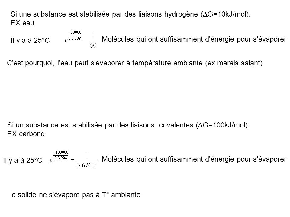 Si une substance est stabilisée par des liaisons hydrogène (DG=10kJ/mol).