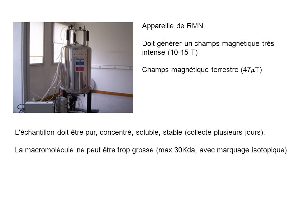 Appareille de RMN. Doit générer un champs magnétique très intense (10-15 T) Champs magnétique terrestre (47mT)