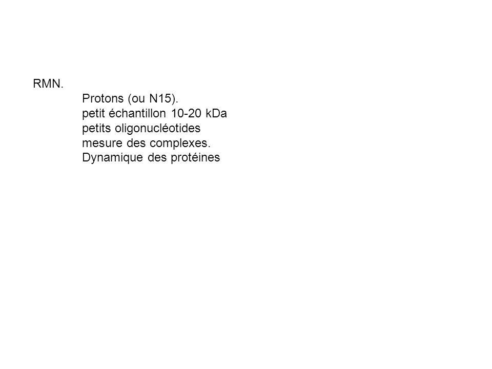 RMN. Protons (ou N15). petit échantillon 10-20 kDa. petits oligonucléotides. mesure des complexes.