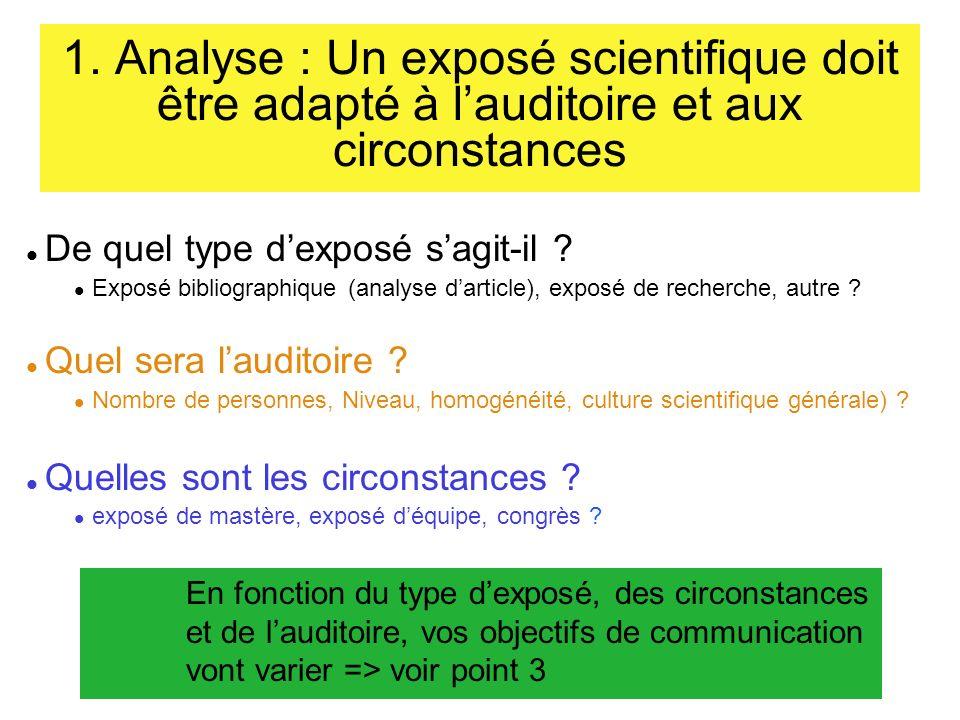 1. Analyse : Un exposé scientifique doit être adapté à l'auditoire et aux circonstances