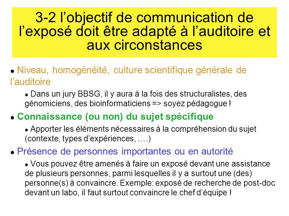 3-2 l'objectif de communication de l'exposé doit être adapté à l'auditoire et aux circonstances