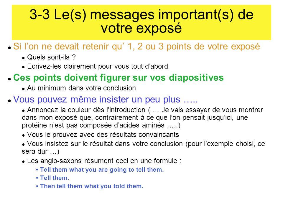 3-3 Le(s) messages important(s) de votre exposé