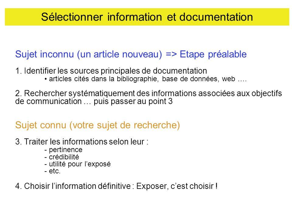 Sélectionner information et documentation