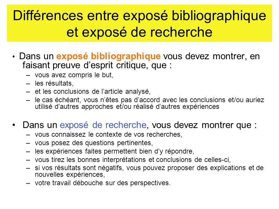 Différences entre exposé bibliographique et exposé de recherche