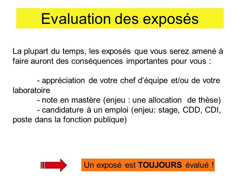 Evaluation des exposés