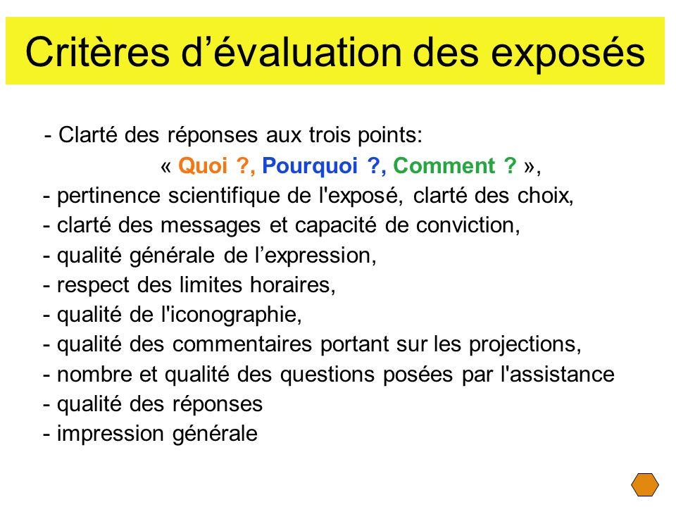 Critères d'évaluation des exposés