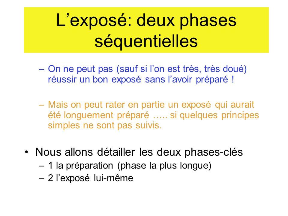L'exposé: deux phases séquentielles