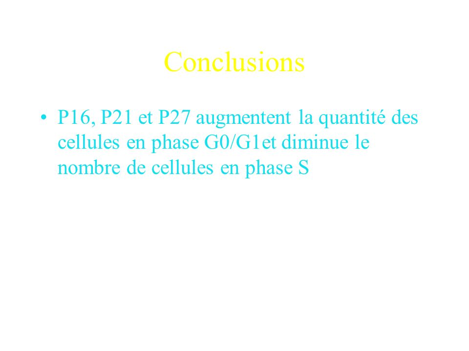 Conclusions P16, P21 et P27 augmentent la quantité des cellules en phase G0/G1et diminue le nombre de cellules en phase S.