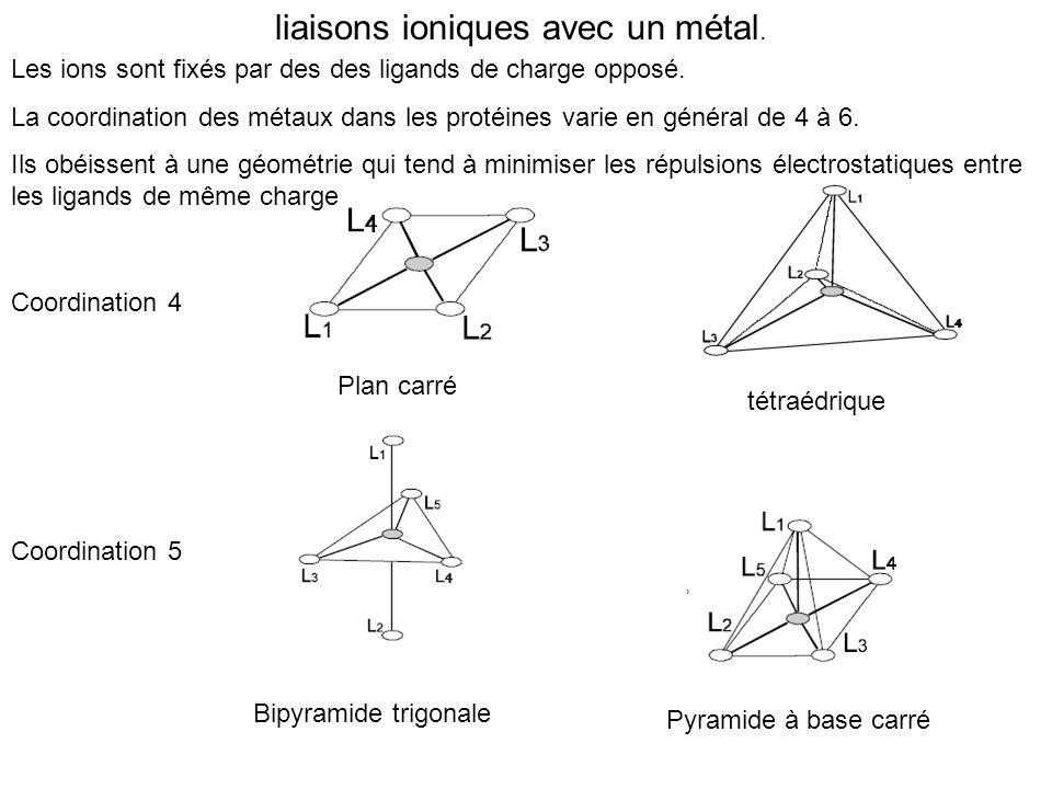 liaisons ioniques avec un métal.
