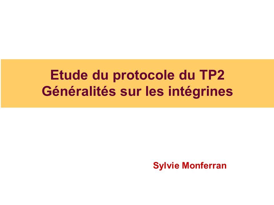 Etude du protocole du TP2 Généralités sur les intégrines