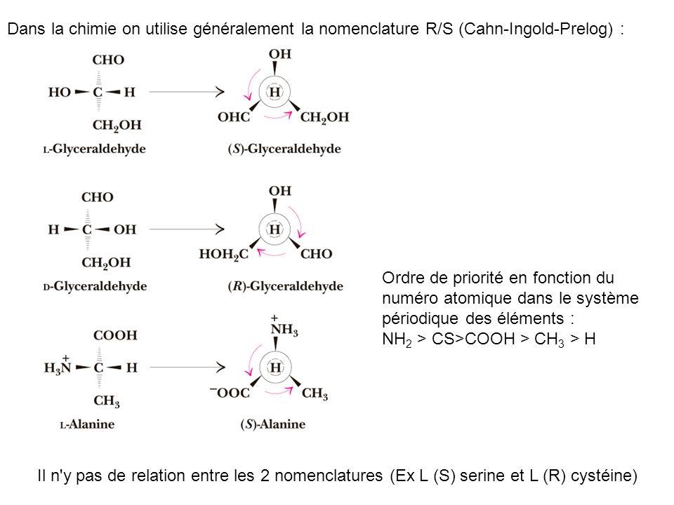 Dans la chimie on utilise généralement la nomenclature R/S (Cahn-Ingold-Prelog) :