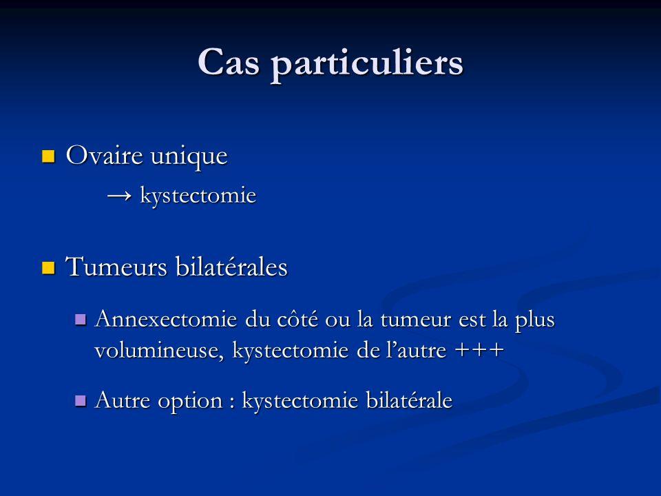 Cas particuliers Ovaire unique Tumeurs bilatérales → kystectomie
