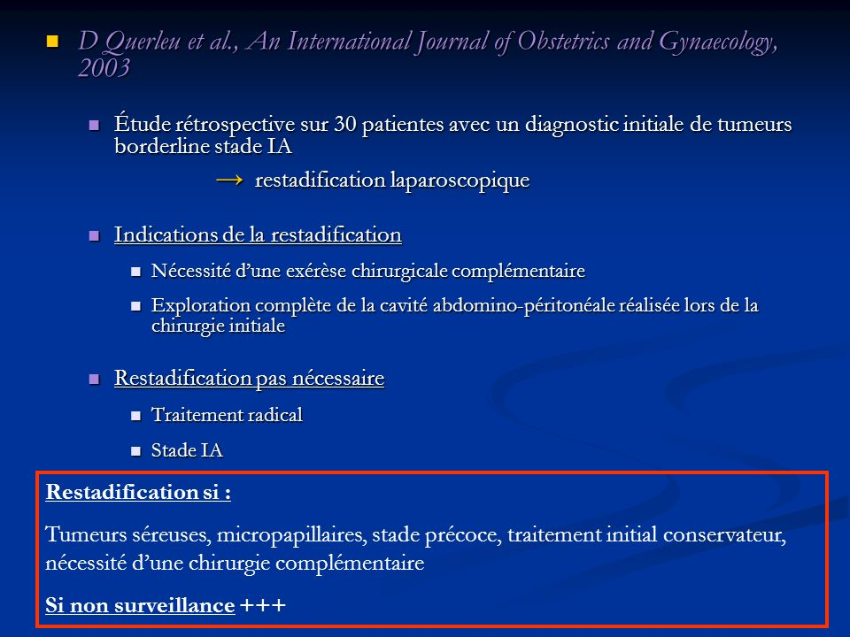 D Querleu et al., An International Journal of Obstetrics and Gynaecology, 2003