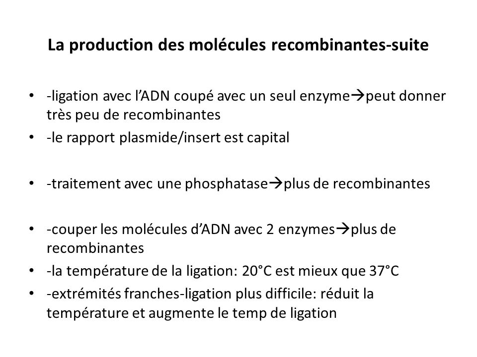 La production des molécules recombinantes-suite