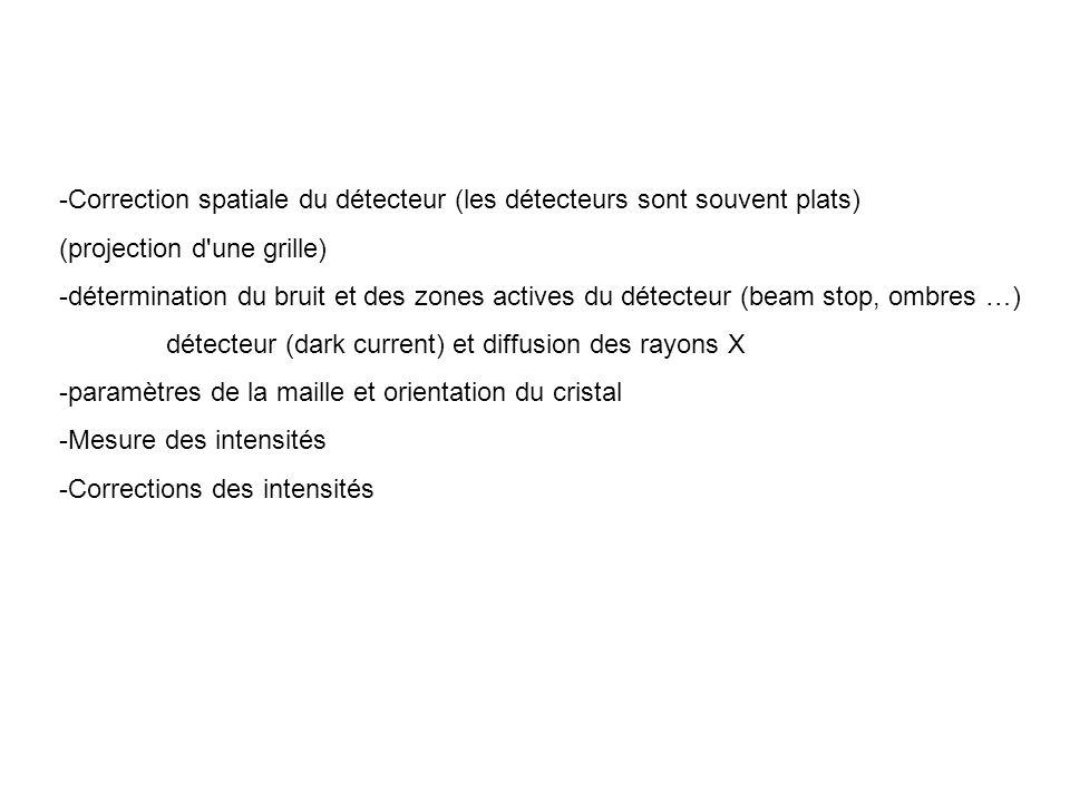 -Correction spatiale du détecteur (les détecteurs sont souvent plats)
