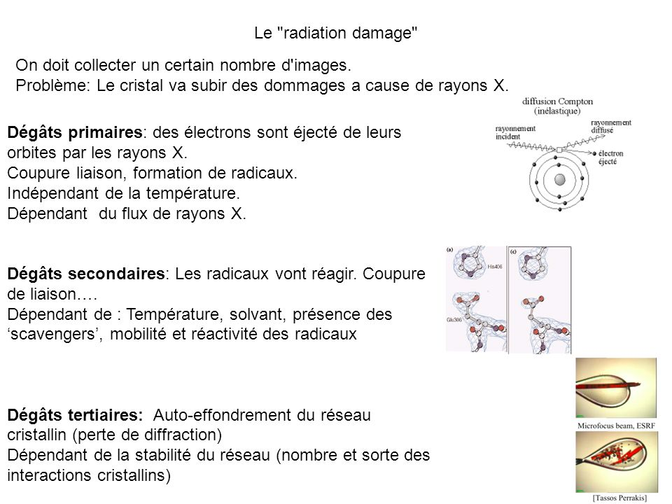 Le radiation damage On doit collecter un certain nombre d images. Problème: Le cristal va subir des dommages a cause de rayons X.