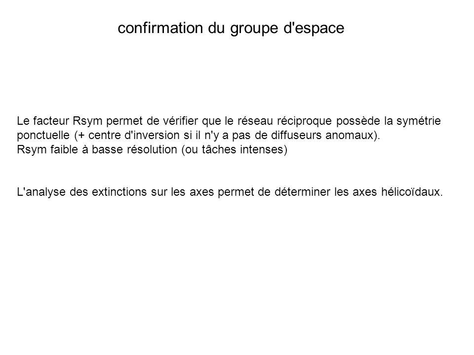 confirmation du groupe d espace