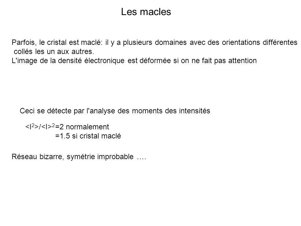 Les macles Parfois, le cristal est maclé: il y a plusieurs domaines avec des orientations différentes.