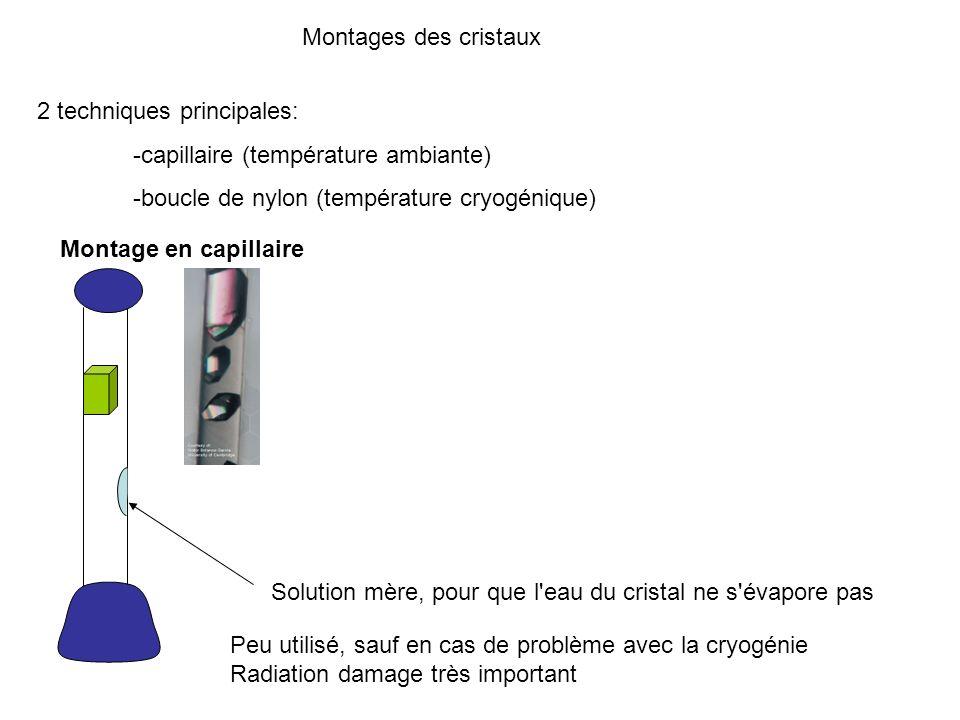 Montages des cristaux2 techniques principales: -capillaire (température ambiante) -boucle de nylon (température cryogénique)