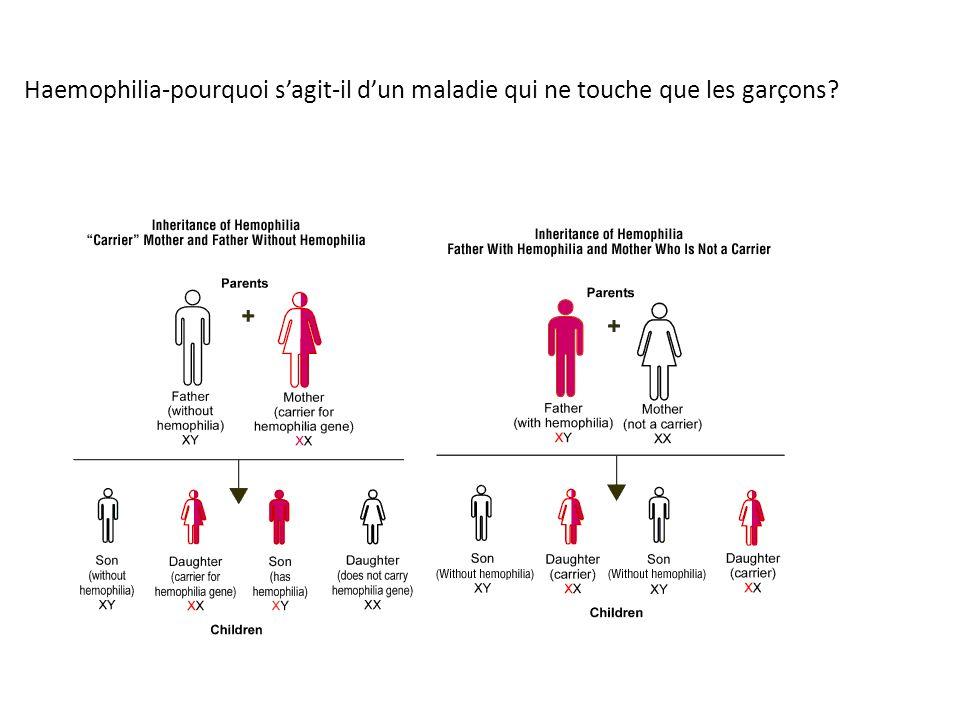 Haemophilia-pourquoi s'agit-il d'un maladie qui ne touche que les garçons