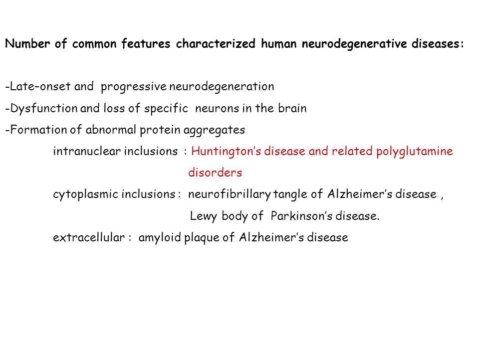 Number of common features characterized human neurodegenerative diseases: