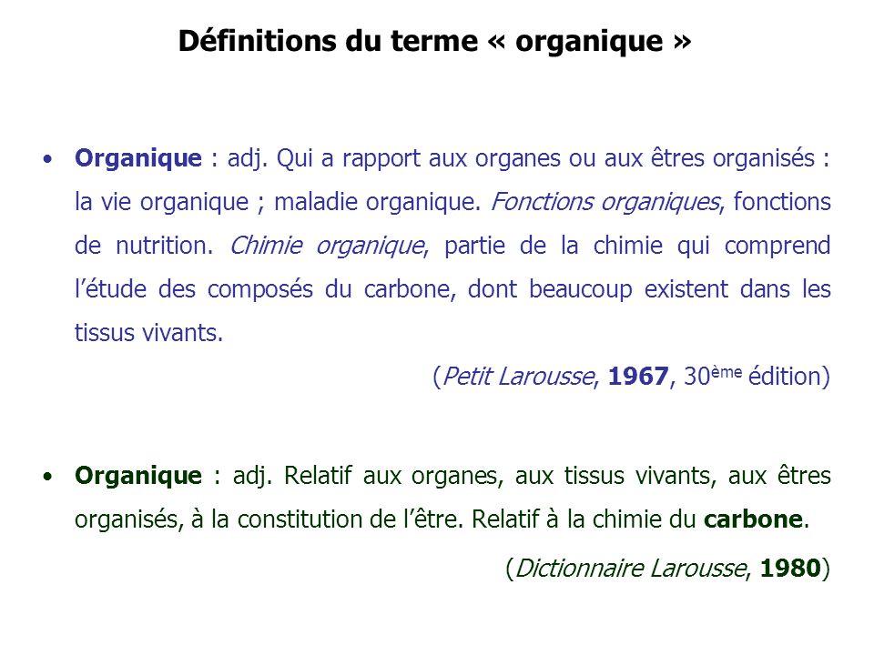 Définitions du terme « organique »