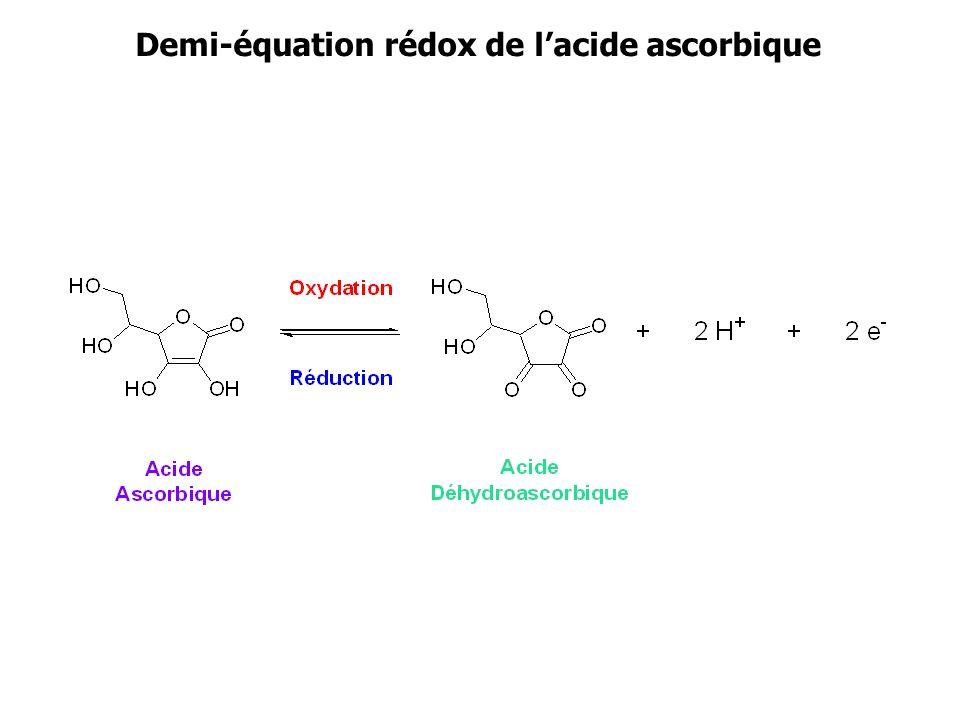 Demi-équation rédox de l'acide ascorbique