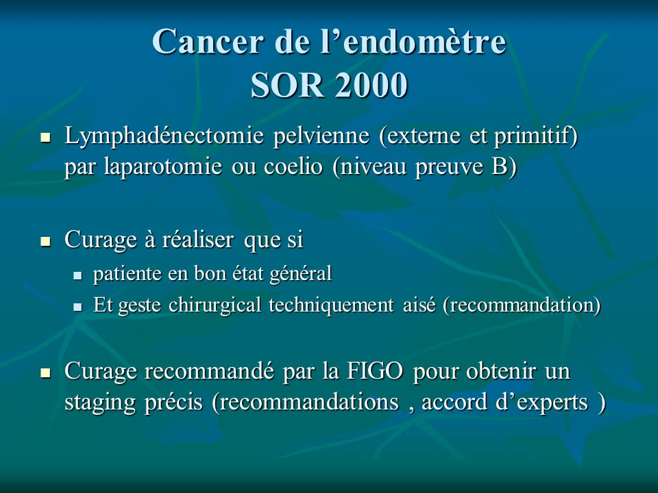 Cancer de l'endomètre SOR 2000