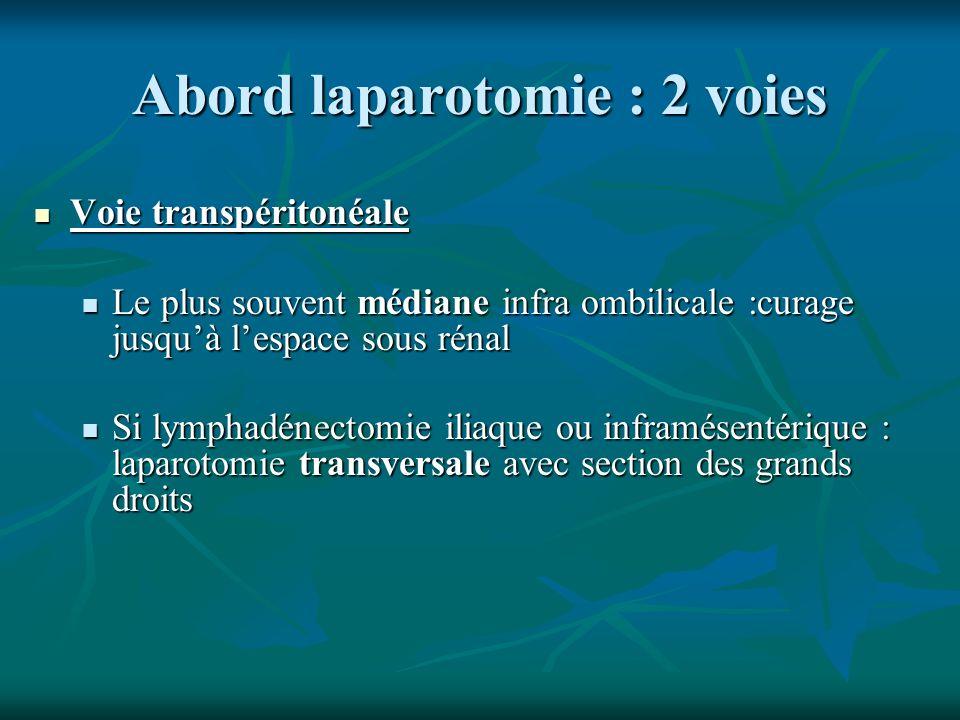 Abord laparotomie : 2 voies