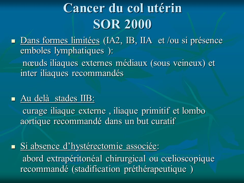 Cancer du col utérin SOR 2000