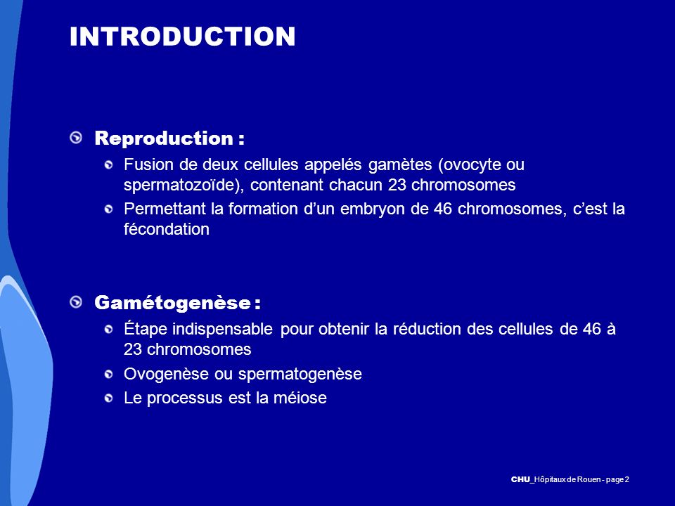 INTRODUCTION Reproduction : Gamétogenèse :