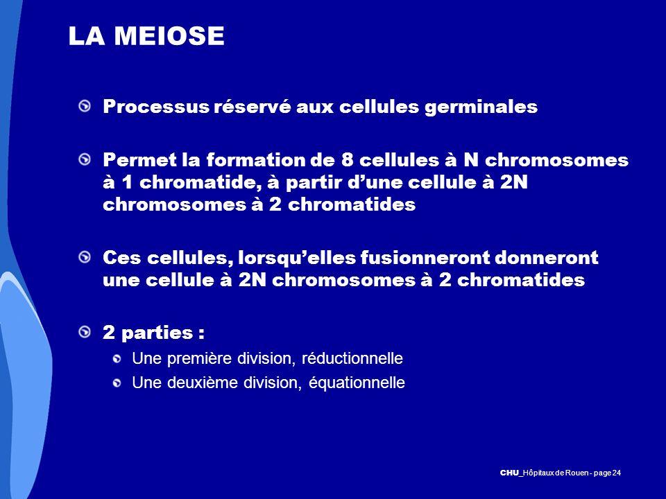LA MEIOSE Processus réservé aux cellules germinales