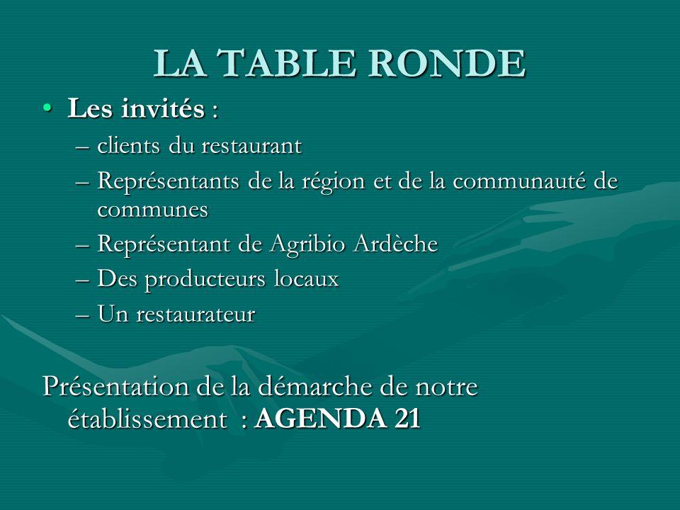 LA TABLE RONDE Les invités :