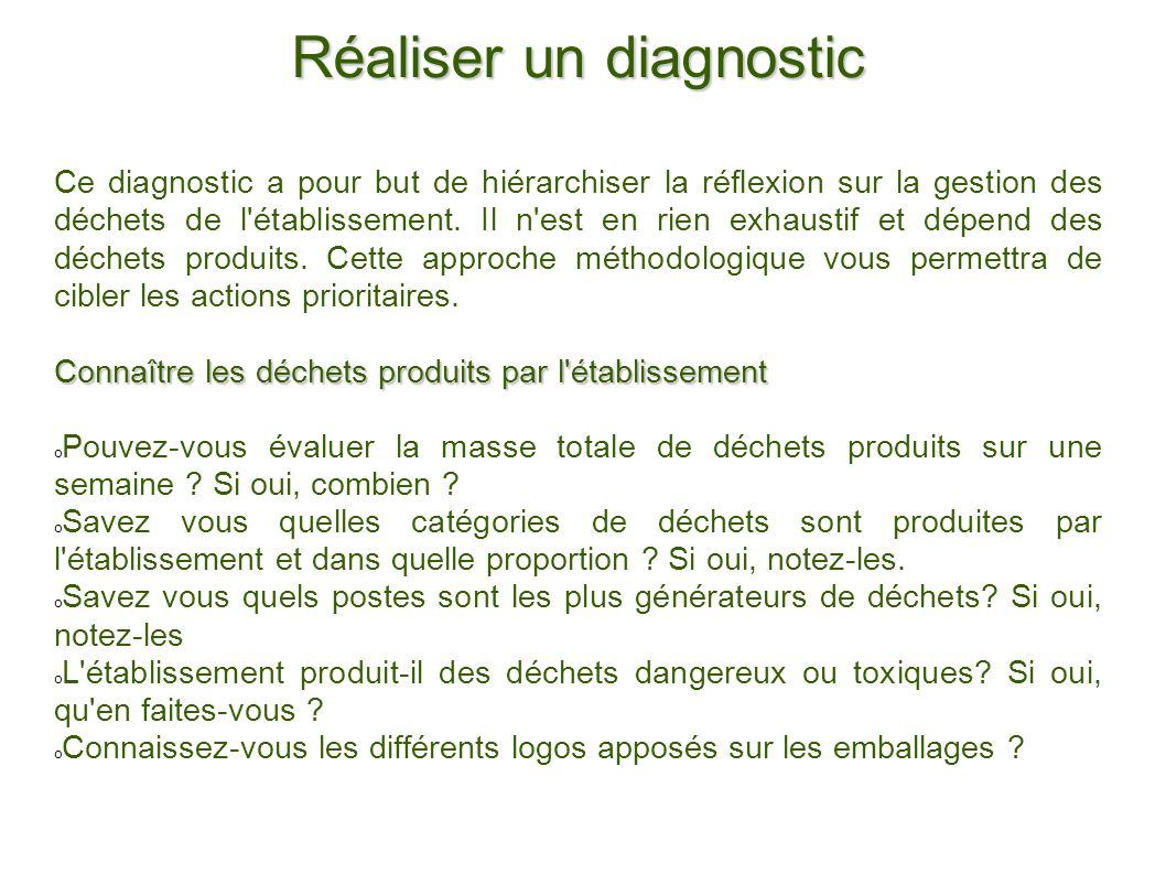 Réaliser un diagnostic