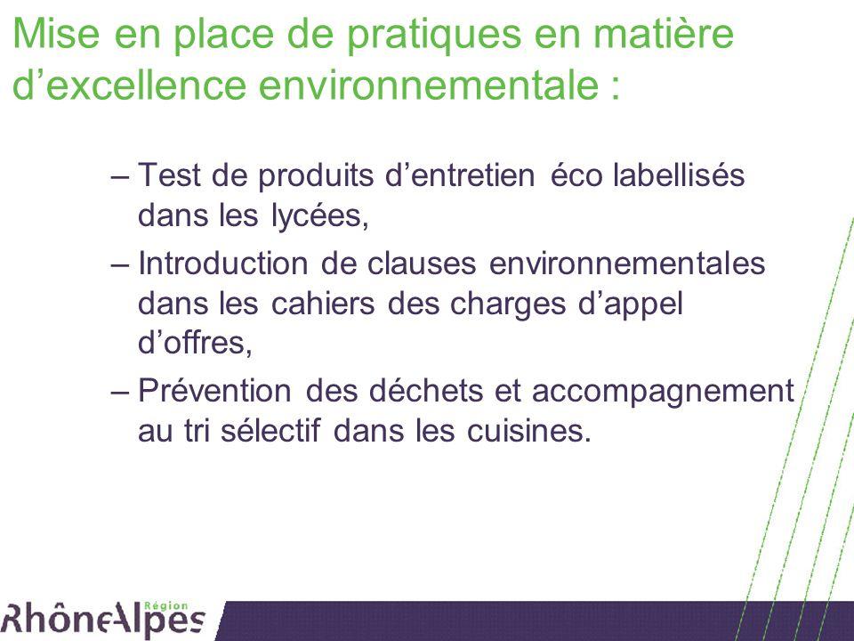 Mise en place de pratiques en matière d'excellence environnementale :
