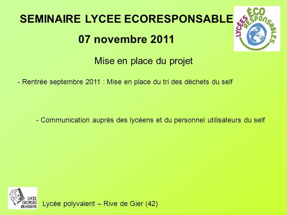 SEMINAIRE LYCEE ECORESPONSABLE