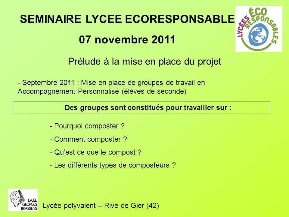 SEMINAIRE LYCEE ECORESPONSABLE 07 novembre 2011