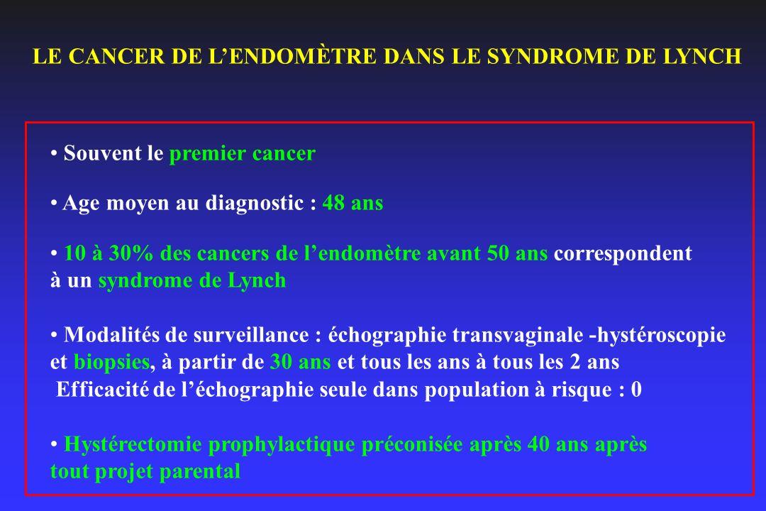 LE CANCER DE L'ENDOMÈTRE DANS LE SYNDROME DE LYNCH