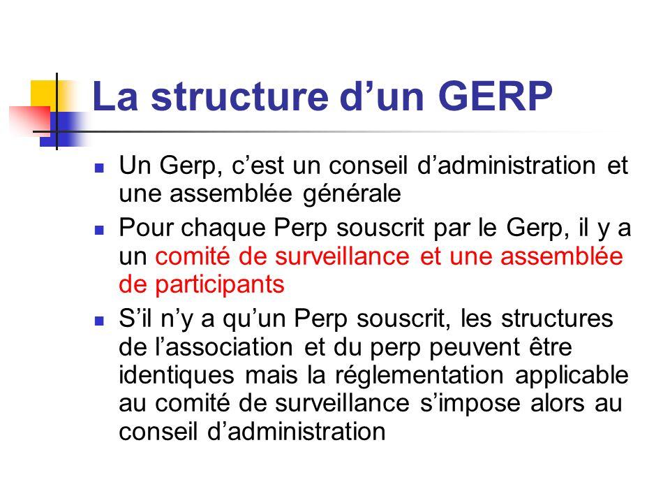 La structure d'un GERP Un Gerp, c'est un conseil d'administration et une assemblée générale.